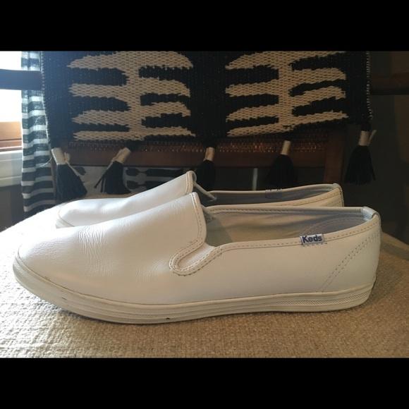 Womens White Leather Double Decker Slip